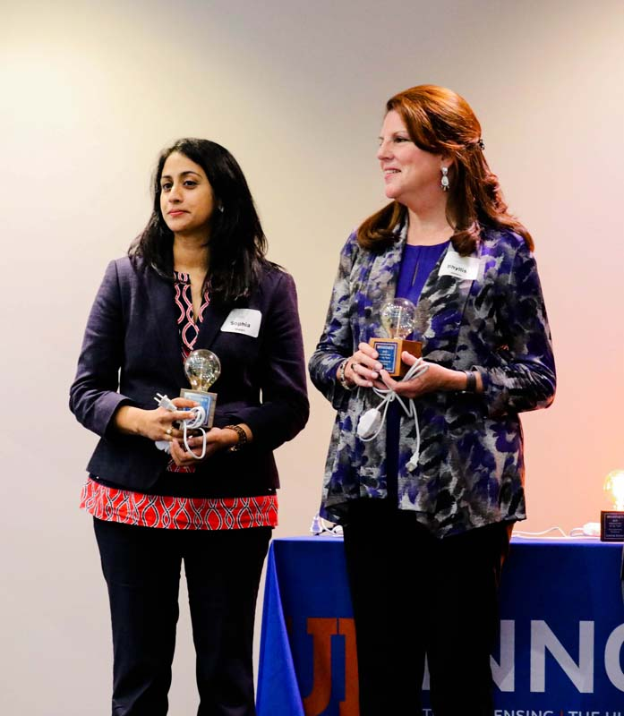 Dr. Sophia Sheikh and Dr. Phyllis Hendry received an award for their invention of PAMI, the Pain Assessment Management Initiative.