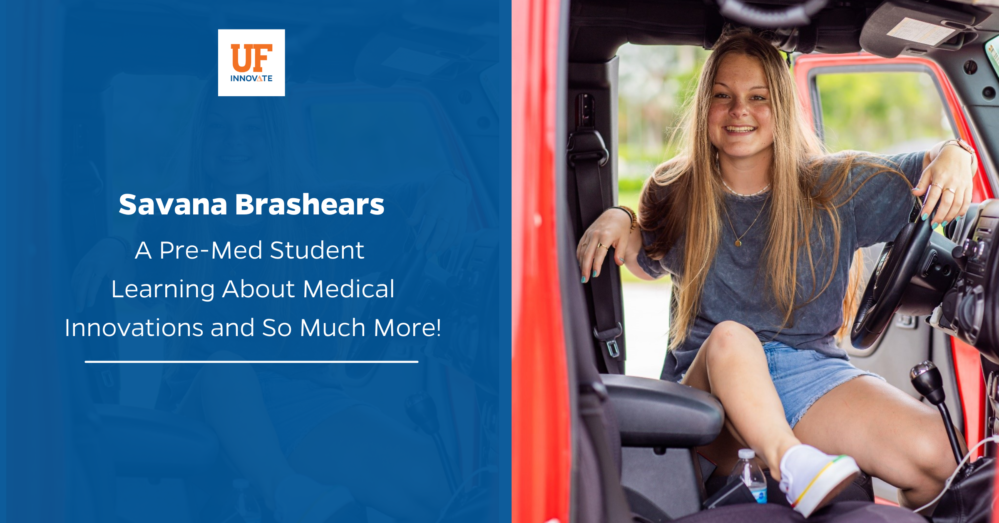 Savana Brashears, an intern at UF Innovate Tech Licensing, sits in a truck and smiles confidently